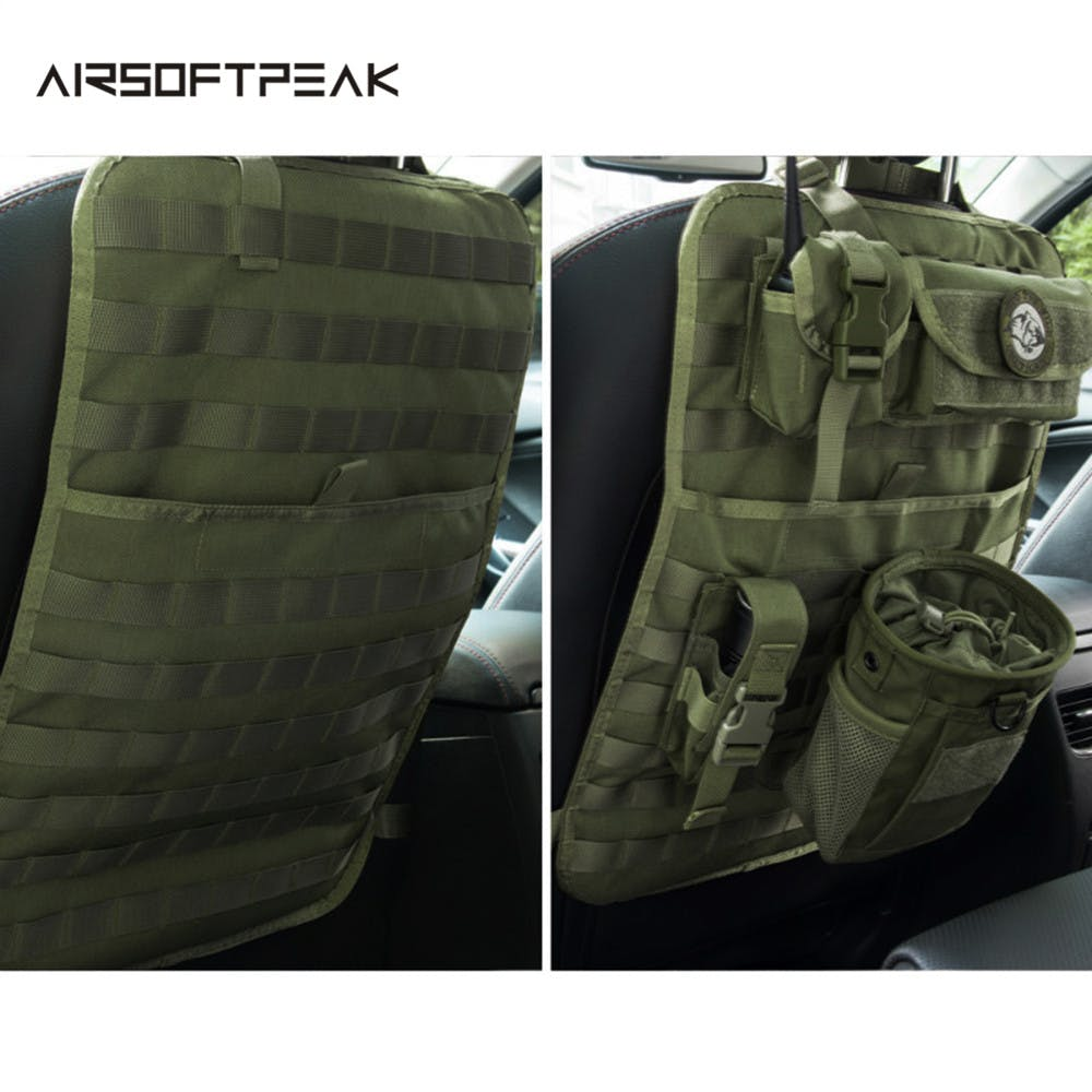 AIRSOFTPEAK 600D Tactical Nylon Seat Back Protector Cover Storage