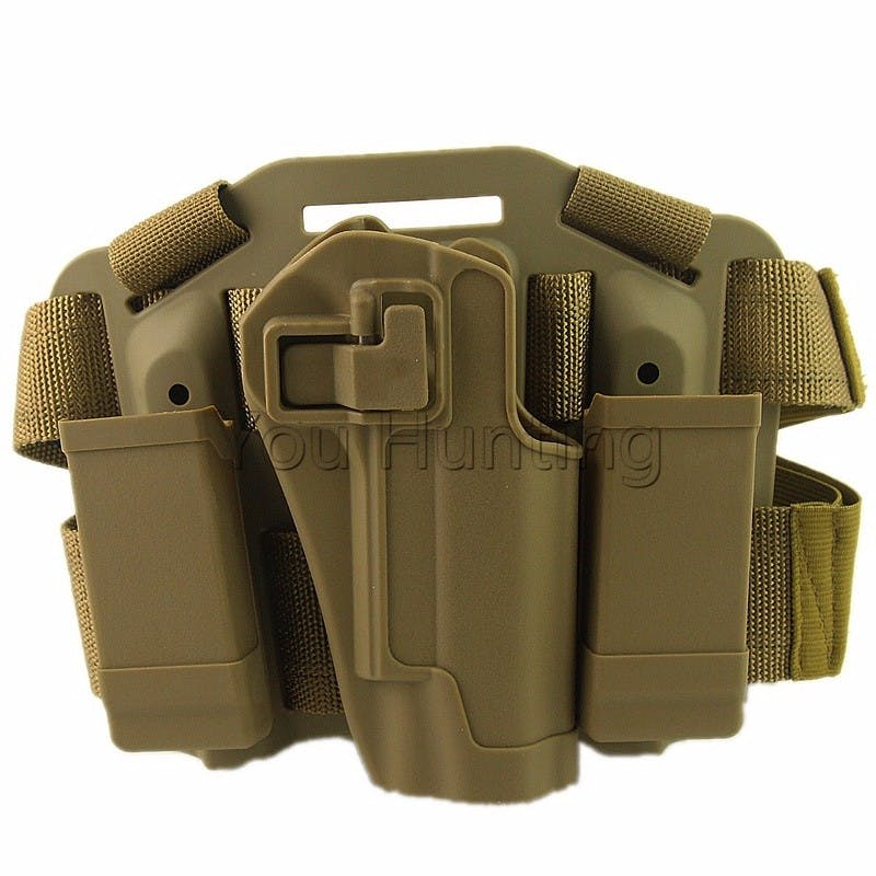 Adjustable CQC Gun Holster Colt 1911 Tactical Puttee Thigh Belt Drop Leg  Holster Pistol Pouch Black